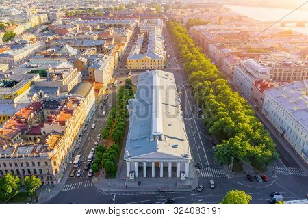 Manege In Saint- Petersburg - A Building In The Classical Style, Aerial View