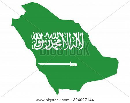Saudi Arabia Map Flag Vector Illustration. Gulf Country. Perfect For Backgrounds,wallpapers.label,st