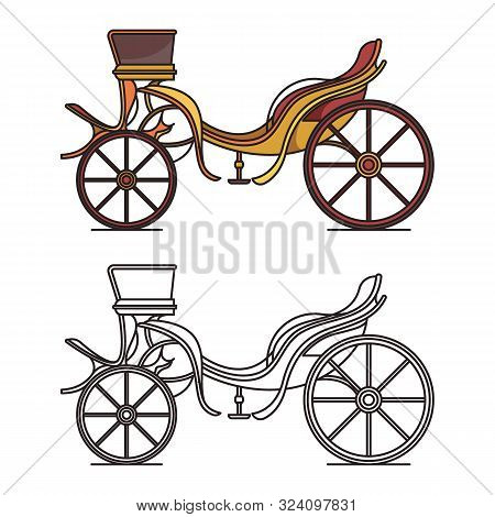 Retro Dog Cart Or Classic Carriage, Vintage Chariot