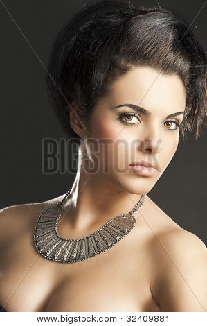 The Girl With Silver Necklace, Turned Of Three Quarters