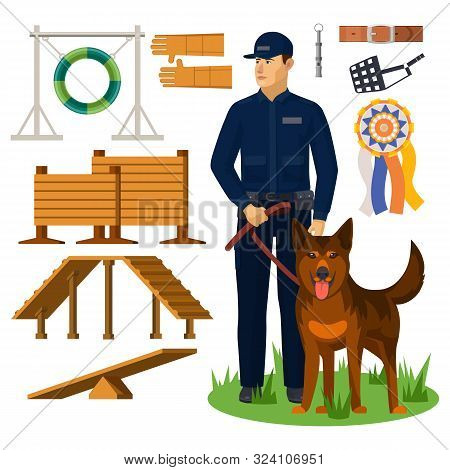 Dog Trainer And Agility Obstacles. Police Officer With Shepherd And Wall For Jumping, Medal And Belt