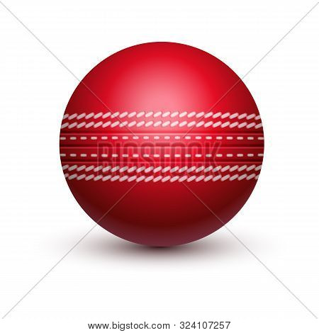 Red Cricket Ball With Leather String. Isolated Sport Equipment For Sport. Hard Solid Spherical Ball