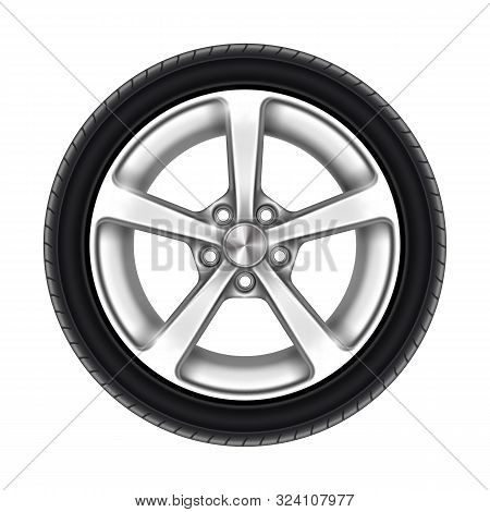 Isolated Car Wheel On White. Auto Tyre Or Automotive Tire With Star Rim. Machine Aluminum Disk Icon.