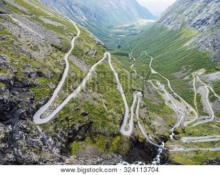 Trollstigen Or Trolls Path Trollstigveien Famous Serpentine Mountain Road From Viewpoint In Pass On