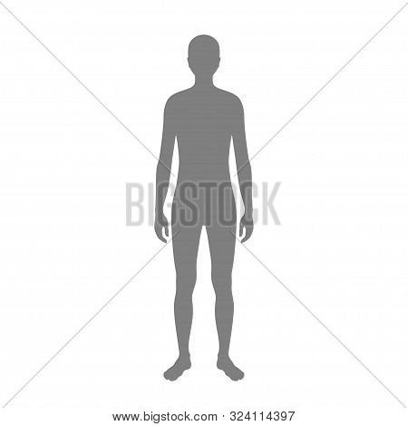Vector Isolated Illustration Of Naked Man Silhouette. Isolated Black Illustration