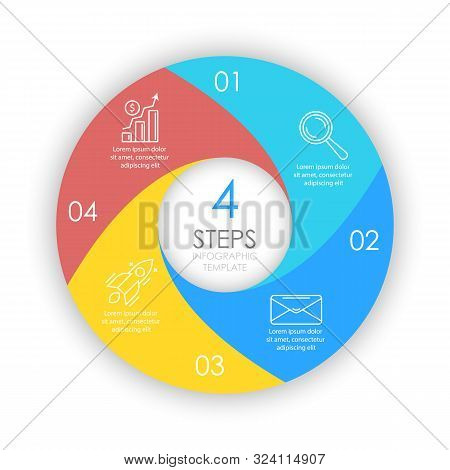 Vector circle infographic template with 4 options for presentations or layouts. Business concept round diagram.