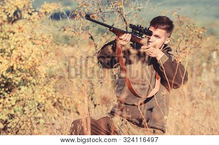 Aiming Skills. Hunter Hold Rifle. Hunting Permit. Bearded Hunter Spend Leisure Hunting. Hunting Equi