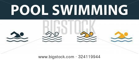 Pool Swimming Icon Set. Premium Symbol In Different Styles From Fitness Icons Collection. Creative P