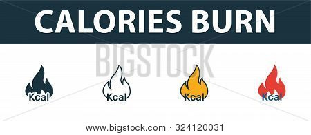 Calories Burn Icon Set. Premium Symbol In Different Styles From Fitness Icons Collection. Creative C