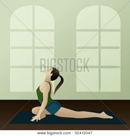 Young Woman Practicing Yoga Supported Pigeon Pose(salamba Kapotasana)