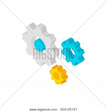 Gear Wheels Isometric Object. Vector Illustration of Business Sign in Isometry. poster