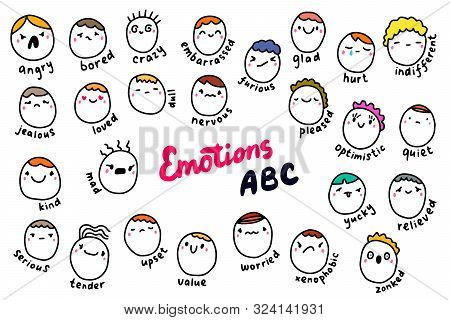 Emotions Abc Hand Drawn Vector Illustration In Cartoon Comic Style. People Heads With Different Feel