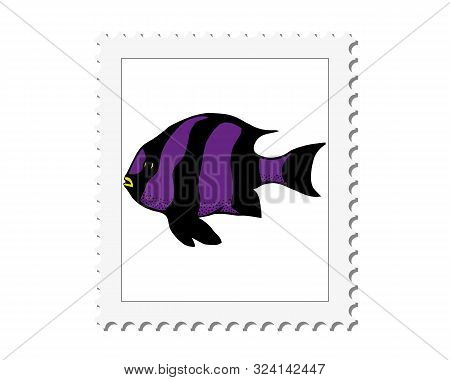 Coral Tropical Fish Vector Illustration In The Form Of A Mark. Vector Sea Fish Isolated On White Bac