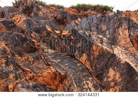 Colorful Stone Textures Of A Mountain Of Rodalquilar, Almeria, Spain