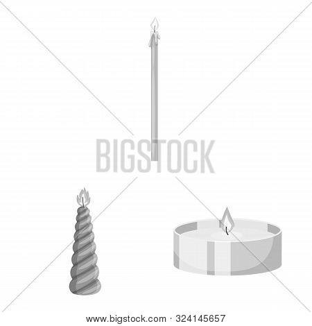 Vector Illustration Of Paraffin And Fire Logo. Collection Of Paraffin And Decoration Stock Vector Il