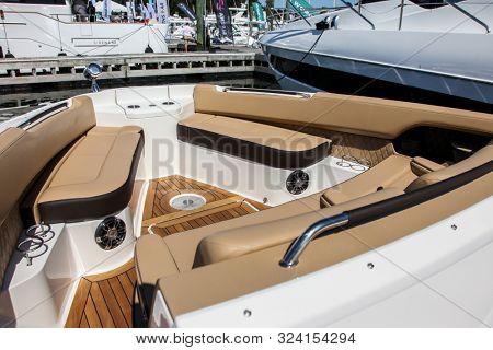 NORWALK, CT, USA - SEPTEMBER 19, 2019: New 2020 Sea Ray 400 SLX shoving on Progressive Norwalk Boat Show Day 1 From September 19-22, 2019.