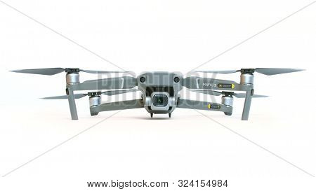 Drone quadrocopter Dji Mavic 2 Pro. On UAV is mounted Hasselblad high resolution camera with a 1-inch sensor. New technology for aerial photo and video.