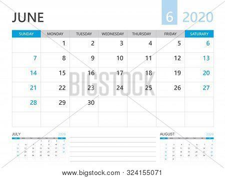 Calendar 2020 Template, June 2020 Year, Desk Calendar 2020 Layout, Corporate Design Planner Template