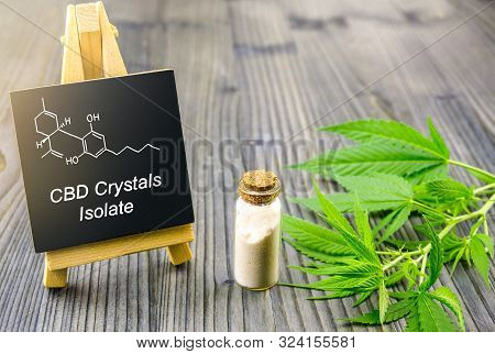 Cbd Cannabidiol Crystals Isolate In Glass Bottle With Cbd Molecular Structure And Cannabis Leaves