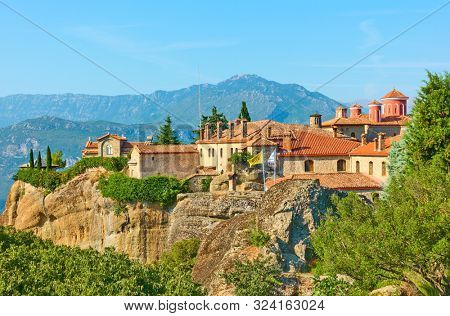 Saint Stephen orthodox monastery in Meteora, Kalabaka, Thessaly, Greece - Greek landscape