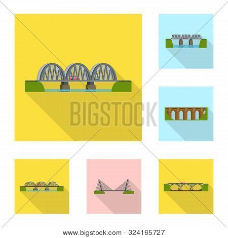 Vector Illustration Of Bridgework And Bridge Logo. Collection Of Bridgework And Landmark Stock Vecto