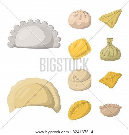 Vector Design Of Dumplings And Food Sign. Set Of Dumplings And Stuffed Vector Icon For Stock.