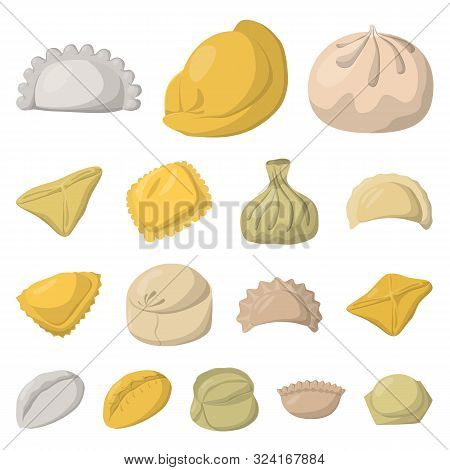 Isolated Object Of Dumplings And Food Sign. Set Of Dumplings And Stuffed Vector Icon For Stock.