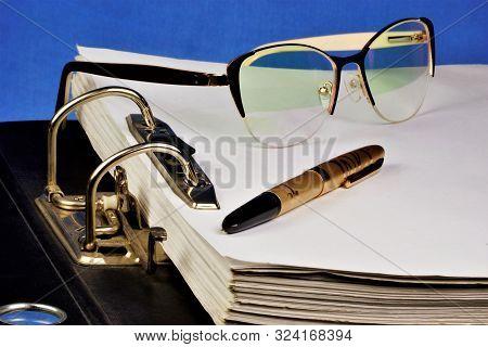 Folder With Files-registrar Of Archival Records, Glasses, Pen. Stationery Folder-accessory Business