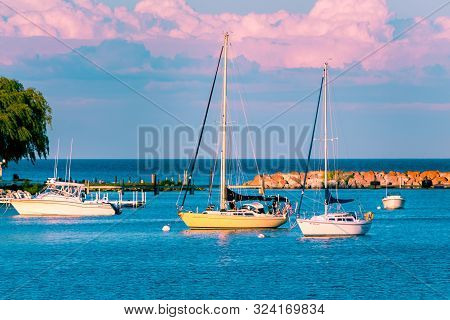 Mackinac Island Mi /usa - July 9th 2016: Sail Boats Docked At The Marina At Mackinac Island During S