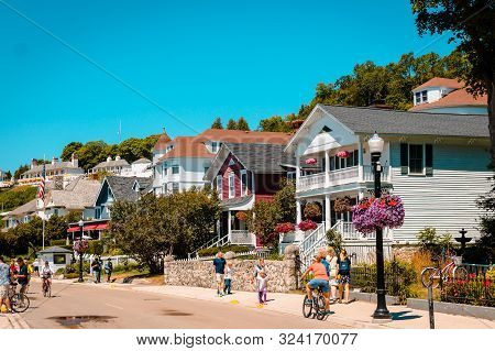 Mackinac Island Mi /usa - July 9th 2016: Some Of Houes Near Downtown Mackinac Island