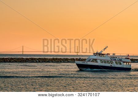 Mackinac Island Mi /usa - July 9th 2016: Star Line Ferry Leaving Mackinac Island Harbor In Front Of