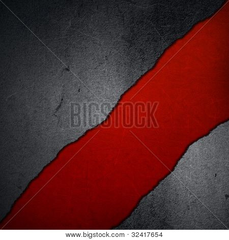 Grunge concrete on a red leather background