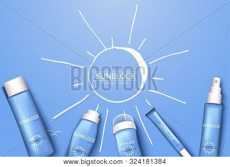 Mono-color Blue Trendy Illustration, Sun-protection Cosmetics Packaging Design Template. Sunscreen A