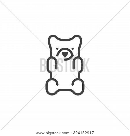 Jelly Bear Candy Line Icon. Linear Style Sign For Mobile Concept And Web Design. Gummy Bear Outline