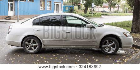 Kazakhstan, Ust-kamenogorsk - 11 September, 2019. Car Nissan Teana In The Parking Lot. Japanese Car.