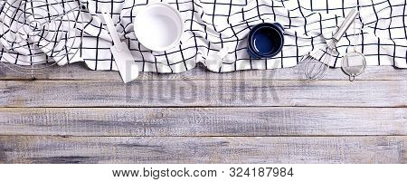 Kitchen Utensils, Cotton White Checkered Napkin On Old Wooden Background. Selective Focus.