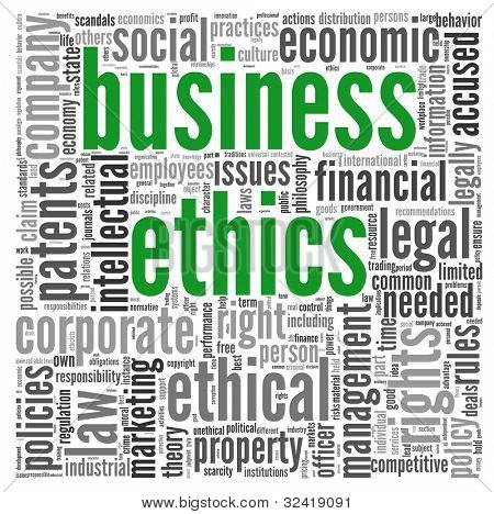 Business ethics concept related words in tag cloud on white