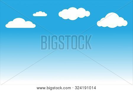 Blue Sky And Clouds. Blue Sky With White Clouds Background. Sky With Clouds On A Sunny Day.