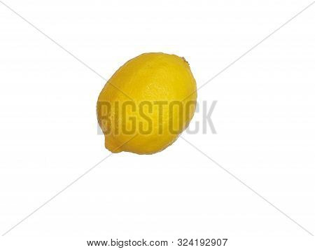 Top View Of Fresh Lemon Isolated On White Background, For Making Drinks Or Cooking, Healthy Food Con