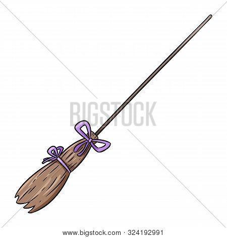 Cute Old Broomstick Doodle. Happy Halloween Related Icon - Magic Broom. Vector Isolated Symbol. Cart
