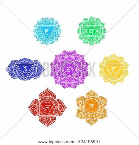 Seven Human Chakras Symbols Set, Colorful Icons, Muladhara, Svadhishthana, Manipura, Anahata, Vishud