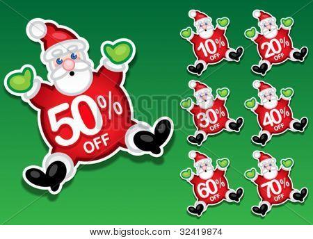 Santa Claus Discount Sale Stickers