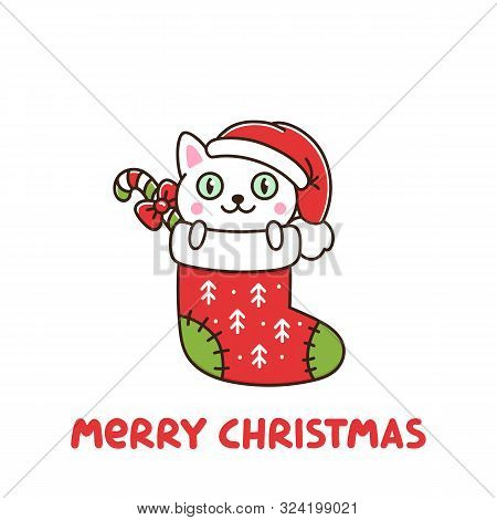 Funny Cat As A Gift In Christmas Sock. It Can Be Used For Sticker, Patch, Phone Case, Poster, T-shir