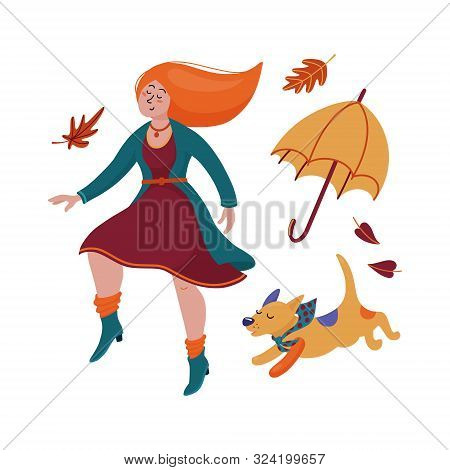 Pretty Young Red-haired Woman In Dress, Cardigan And Boots Dancing With Her Dog, Puppy, Fall, Autumn