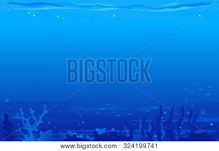 Ocean Underwater Background With Corals, Algae And Flocks Of Small Fish, Blue Dark Seabed Template B