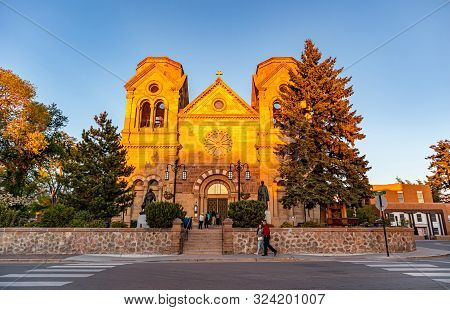 Santa Fe City Center At Dusk, Cathedral Church St. Francis Of Assisi New Mexico Usa.