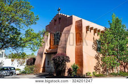 Church In Santa Fe City Center New Mexico Usa.
