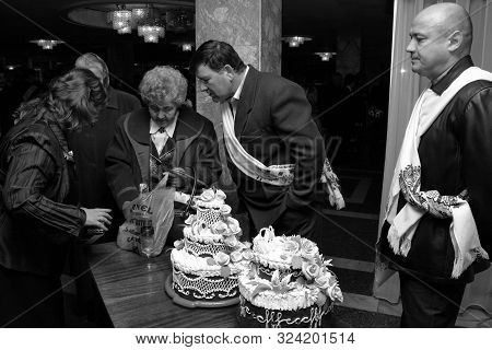 Lutsk, Volyn / Ukraine - November 14 2009: The Godfather With Embroidery Towel And Traditional Ukrai