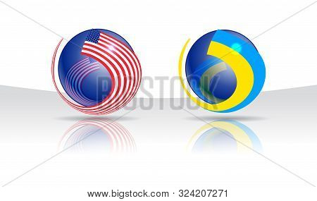 Two Glossy Spheres Entwined With State Flags Of Usa And Ukraine. Symbol Of Bilateral Negotiations, I