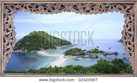 Nangyuan Island With Rainbow And Cloud,thailand